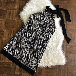 Joseph Ribkoff 10 Black White Halter Stretch Dress
